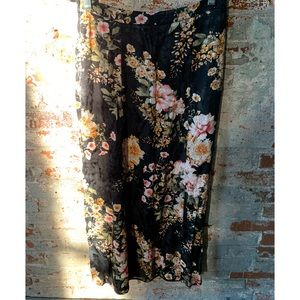 Anthropologie Maeve Black Silky Floral Maxi Skirt